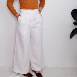 Vintage White High Rise Wide Leg Trouser Pants 799